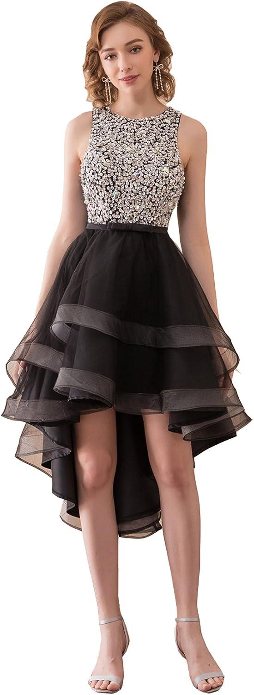 Ikerenwedding Women's Beaded Sequins Layered Asymmetrical Homecoming Dress