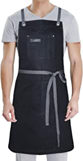 DingSay Trendy Professional Apron with Pockets,for Grill BBQ Kitchen Cooking Artist Painting,Unisex for Men Women,Bib Adjustable Design with Cross Back Straps (Black Cotton)