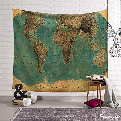 Fansu Tapiz de Pared Grande Mapa del Mundo Rectangular, artistico tapices Colgante hogar decoración Sala de Estar diseño psicodélico póster (L-200 * 150CM,Tierra)