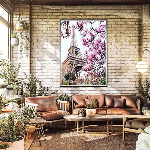 DIY Diamant Painting Bilder Voll Kits für Erwachsene Kinder Tower Flowers 5D Diamond Painting Full Set Kristall Strass Stickerei Kreuzstich für Home Wall Decor -Square Drill,27.5x35.4inch/70x90cm