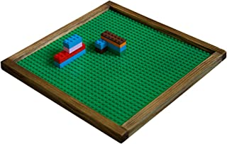 Brick Nation Wooden Lego Compatible Tray Framed Green Plastic 10x10 Baseplate Perfect Travel Lap Table for Kids to Build On - Compatible with Duplo & Classic Bricks