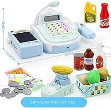 47 piezas para niños, caja registradora para niños, juegos de imaginación, supermercado, tienda hasta juguetes con calculadora, escáner de trabajo, tarjeta de crédito, comida para jugar, dinero, ba