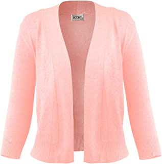 FASHION BOOMY Women's Open Front Cropped 3/4 Sleeve Casual Soft Knit Sweater Classic Basic Bolero Cardigan