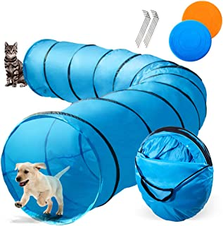 Topmart Dog Playing Tunnel 16.5ft Agility Pet Training Tunnel Tube with 2 Frisbees and Carry Bag for Cats Dogs Outdoor Training