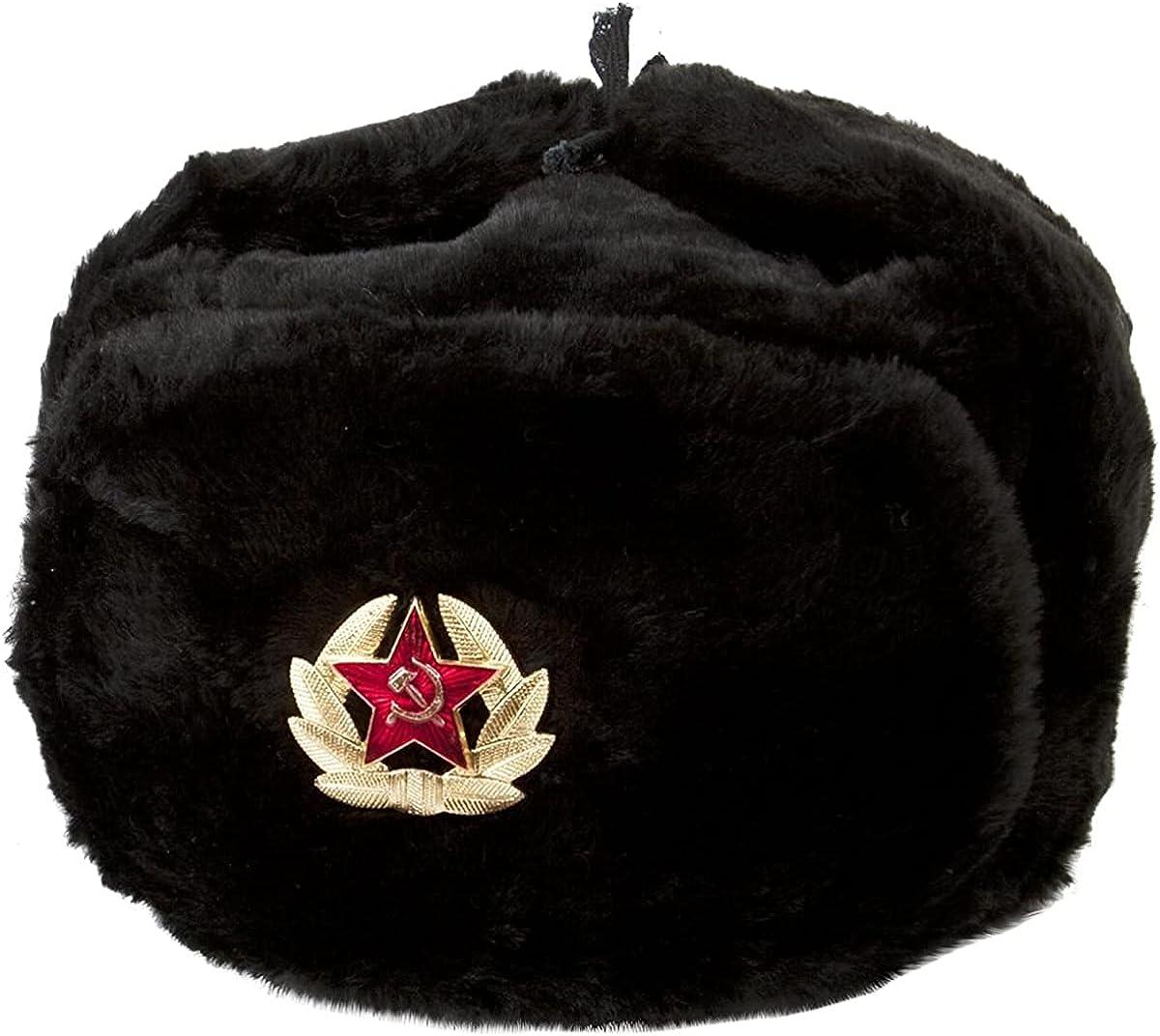 Hat Russian Soviet Army Black KGB Fur Military Cossack Ushanka Size L
