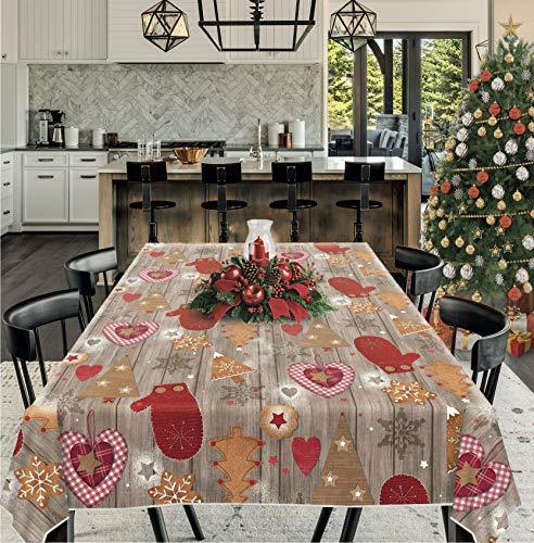 Unicover Mantel de hule navideño – Sweet Christmas – Bordado fabricado en Italia (140 x 200 cm)