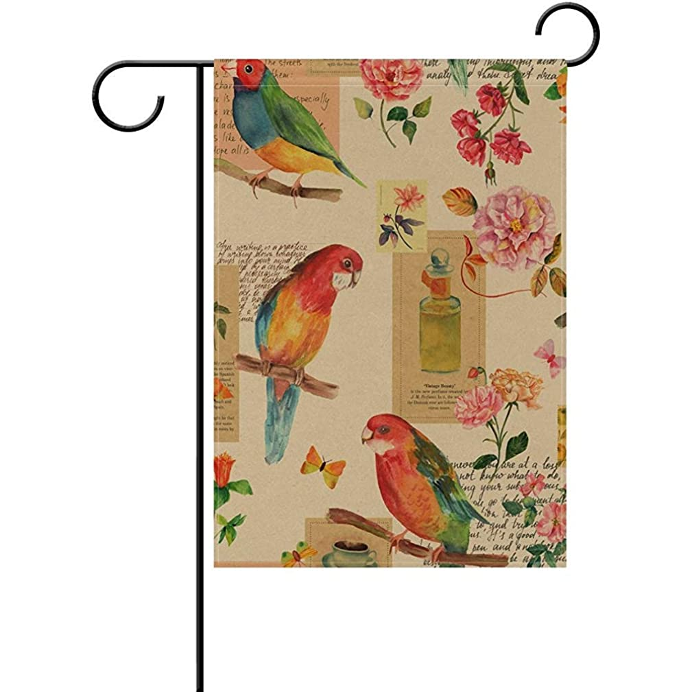 Sdfr4 Vintage Flower Bird Welcome Home House Flags, 12x18 Inch Polyester Outdoor Decorative Banners