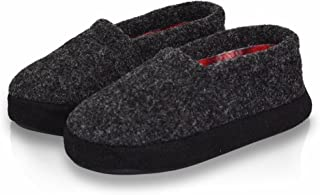 LA PLAGE Boy/Little Kid Indoor/Outdoor Warm Cozy Comfy Plush Slip-on Slippers with Hard Sole for Winter