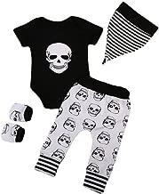 SMALLE ◕‿◕ 4Pcs Infant Halloween Baby Bone Print Romper+Pants+Hat+Gloves Set Clothes