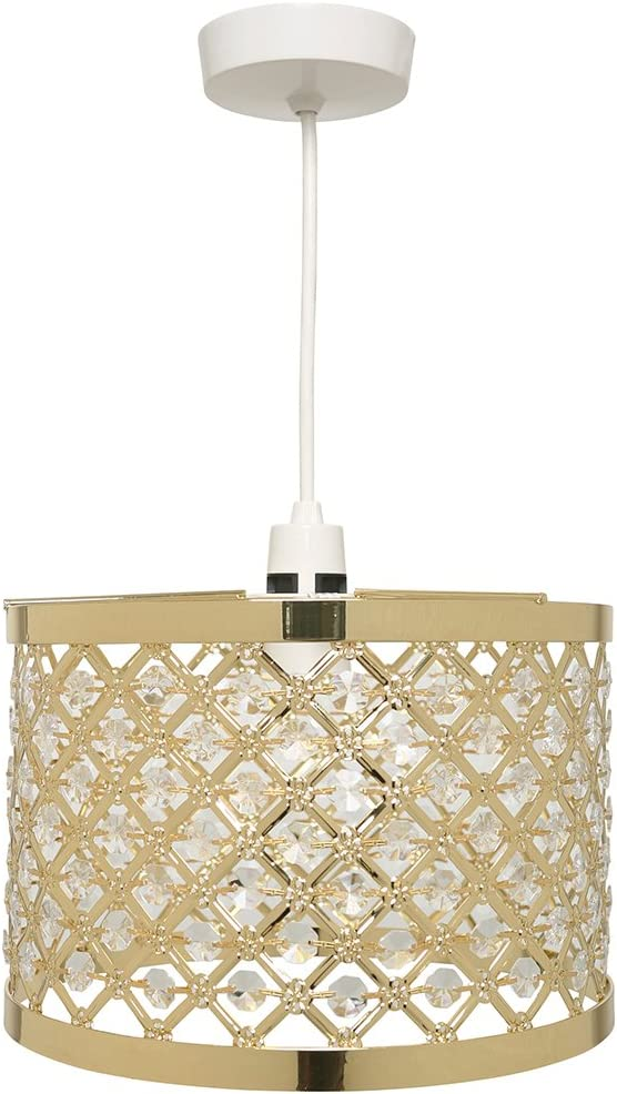 K LIVING Horsham Gold Shiny Metal and Acrylic Beads Non Electrical Easy Fit Pendant Shade