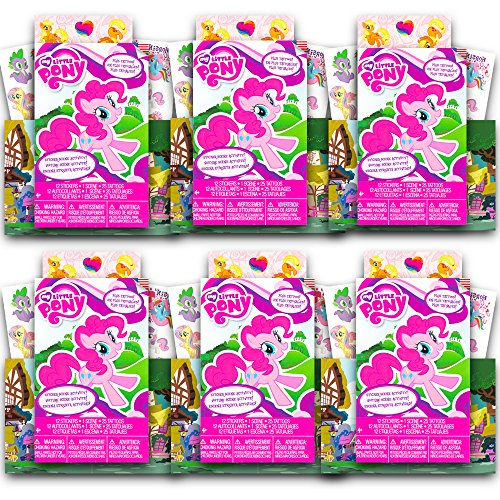 My Little Pony Ultimate Party Favors Pack -- 6 Sets with 72 Stickers Scene Activity and 150 Temporary Tattoos (MLP Party Supplies)