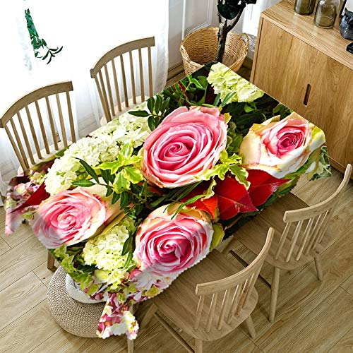 XXDD Mantel de Flores de Colores 3D Lavable Rectangular Mantel de Boda a Prueba de Polvo Cubierta de Mesa para el hogar A6 140x200cm