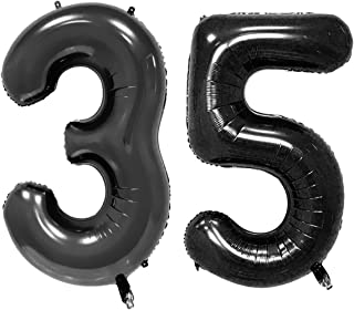 40inch Black Foil 35 Helium Jumbo Digital Number Balloons, 35th Birthday Decoration for Women or Men, 35 Birthday Party Supplies