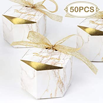 AerWo 50pcs Marble Wedding Party Favor Boxes, Gold Wedding Candy Boxes Bags Hexagonal Chocolate Treat Gift Boxes with Ribbons for Wedding Bridal Shower Baby Shower Birthday Party Decoration