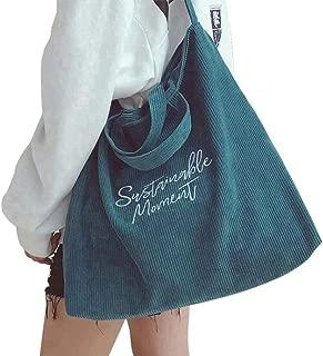 Belsmi 15 Inches Zipper Corduroy Shoulder Bag Casual Handbags Canvas Totes Bag