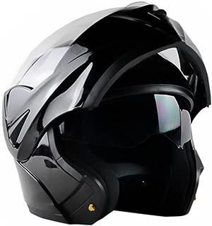 ILM 10 Colors Motorcycle Flip up Modular Helmet DOT (L, Gloss Black)