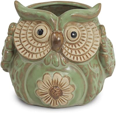 Dahlia Vintage Cute Owl Handmade Ceramic Succulent Planter/Plant Pot/Flower Pot/Bonsai Pot