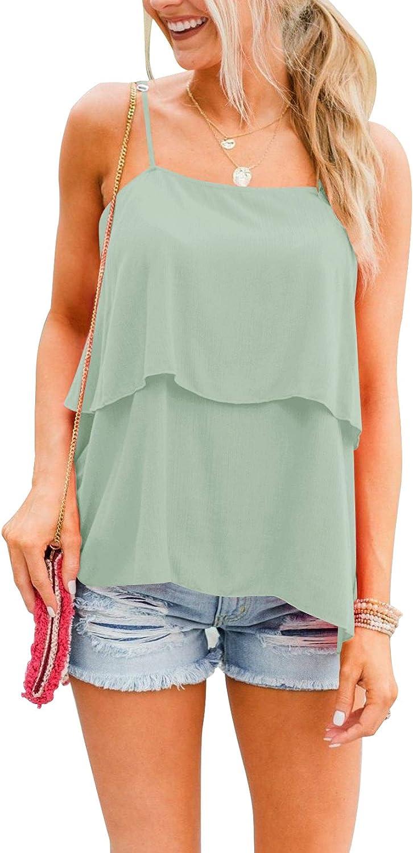 Dbtanjy Women's Tank Tops Sleeveless Shirts Scoop Neck Tee Ruffle Cami
