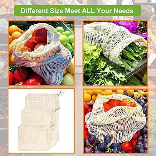 Mucjun Bolsas de Productos Reutilizables, Material de algodón ...