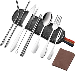 Portable Utensils Set,Travel Camping Cutlery Bulk with Storage Cloth Bag,Reusable Stainless Steel Flatware Set,Including Knife Fork Spoon Straws Chopsticks Cleaning Brush & Cloth