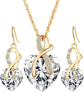 Deals Women Heart Crystal Rhinestone Silver Chain Pendant Necklace+ Earrings Jewelry Sets Romantic Gift by ZYooh