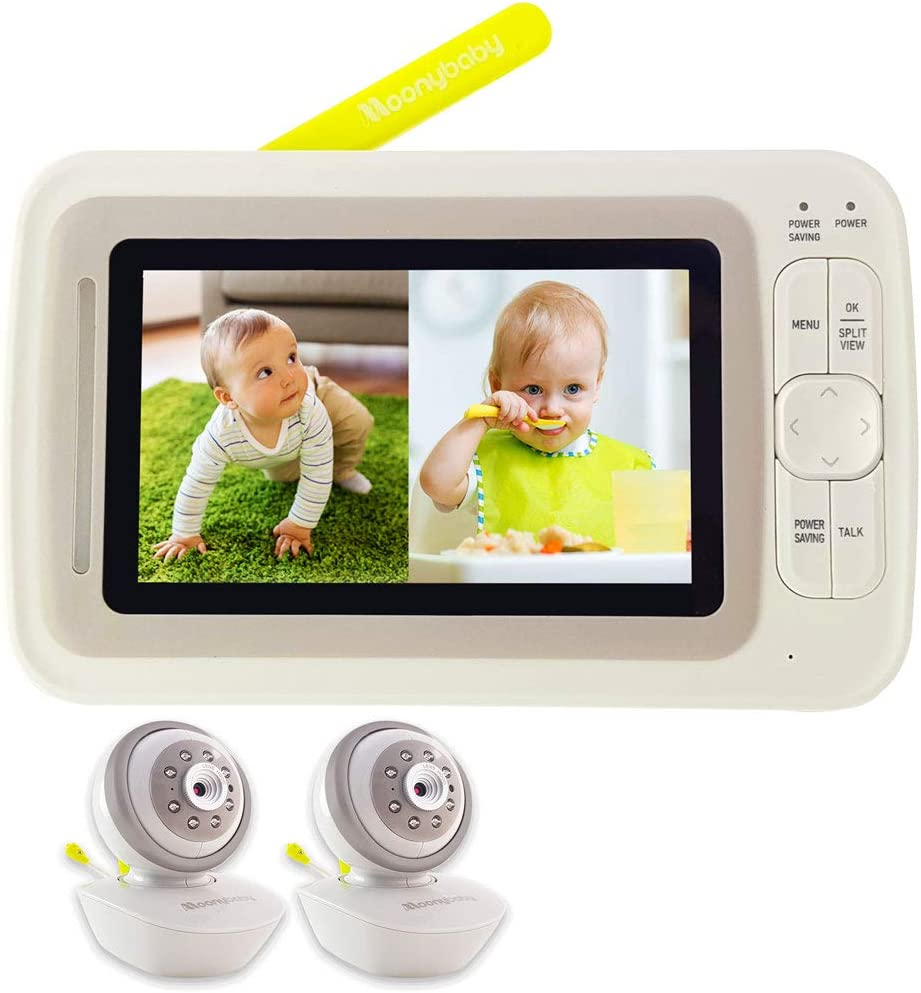 Moonybaby Split 60 Video Baby Monitor 2 Cameras, Split Screen, Pan Tilt Zoom, No WiFi, Extended 12hrs Battery Life, 4.3 Inches Large Monitor, Night Vision, 2 Way Talk Back, Long Range, Wide View Lens
