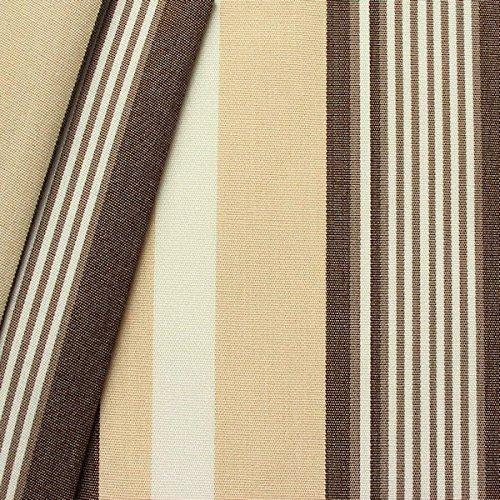 STOFFKONTOR Outdoor Stoff Markisenstoff - Outdoorstoff Meterware wasserabweisend - Sonnenschutz Stoff Blickdicht und farbecht - Braun-Beige-Weiss
