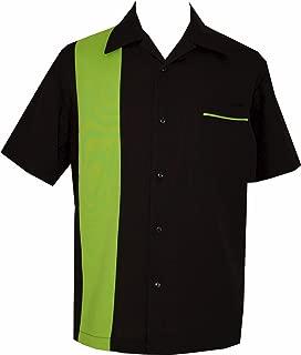 Bowling Retro Camp Short-Sleeve Men's USA Made Shirt ~ LimeShock