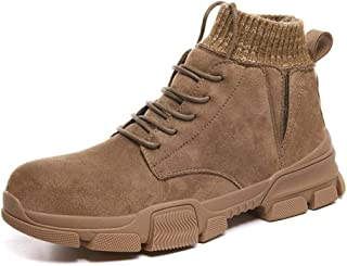 SHENTIANWEI Ankle Work Boot for Men High Top Boots Lace up Style Elastic Socks Collar Suede Upper Round Toe Experienced Stitched Fleece Inside (Color : Brown, Size : 6 UK)