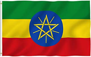 ANLEY® [Fly Breeze] 3x5 Foot Ethiopia Flag - Vivid Color and UV Fade Resistant - Canvas Header and Double Stitched - Ethio...