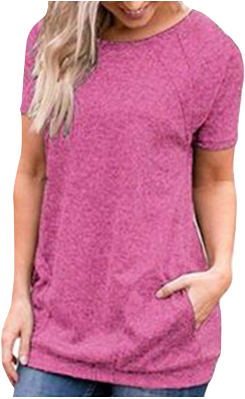Yuaekjes Womens Plus Size T-Shirt Tops Solid Pocket O-Neck Loose Fit Soft Shirts Short Sleeve Tee Summer Blouse Tunic