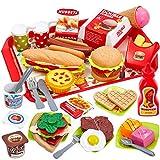 Buyger 63 Stück Lebensmittel Kinder Küchenspielzeug Hamburger Schneiden Gemüse Spielzeug Lernspielzeug Rollenspiele für Kinder