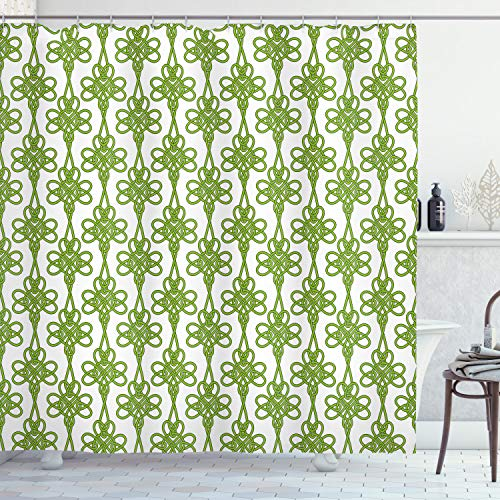Ambesonne Irish Shower Curtain, Entangled Clover Leaves Twigs Celtic Pattern Botanical Filigree Inspired Retro Tile, Cloth Fabric Bathroom Decor Set with Hooks, 70' Long, Cream Green