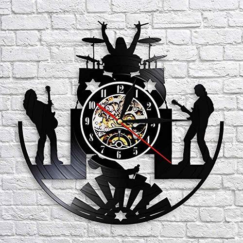 RRBOI Reloj Pared Vinilo Música de la Banda de Rock Reloj de Pared Baterista de la Banda de Rock Grupo de Heavy Metal Guitarrista espectáculo Escenario Disco de Vinilo Reloj de Pared