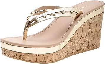 Aldo Wedge Sandals for Women -Gold 7.5 US, 38 EUR