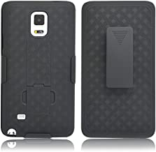 Galaxy Note 4 Case, Customerfirst COMBO Shell & Holster Case Super Slim Shell Case w/ Built-In Kickstand + Swivel Belt Clip Holster for Samsung Galaxy Note 4 (Black)