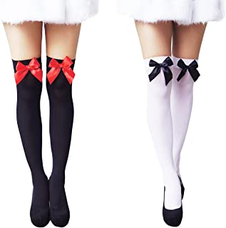 Another Me Women's Cute Sexy Nylon Knee Highs Thigh High Stockings Satin Bows 29.5