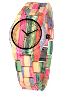 Bewell 105DL Colorful Bamboo Wristwatch for Women, Lightweight Quartz Analog Casual Wooden Watches Type 1