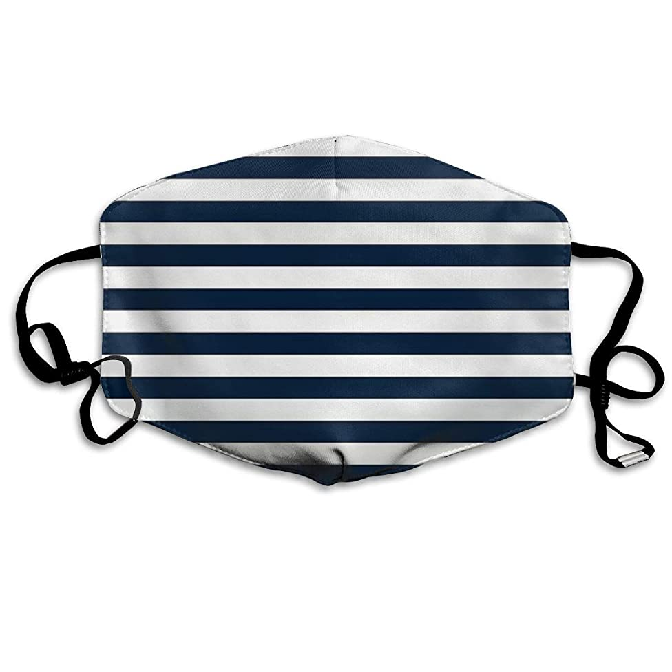Whages Navy Blue and White Nautical Horizontal Stripes Pattern Washable Reusable Safety Breathable Mask, 4.3