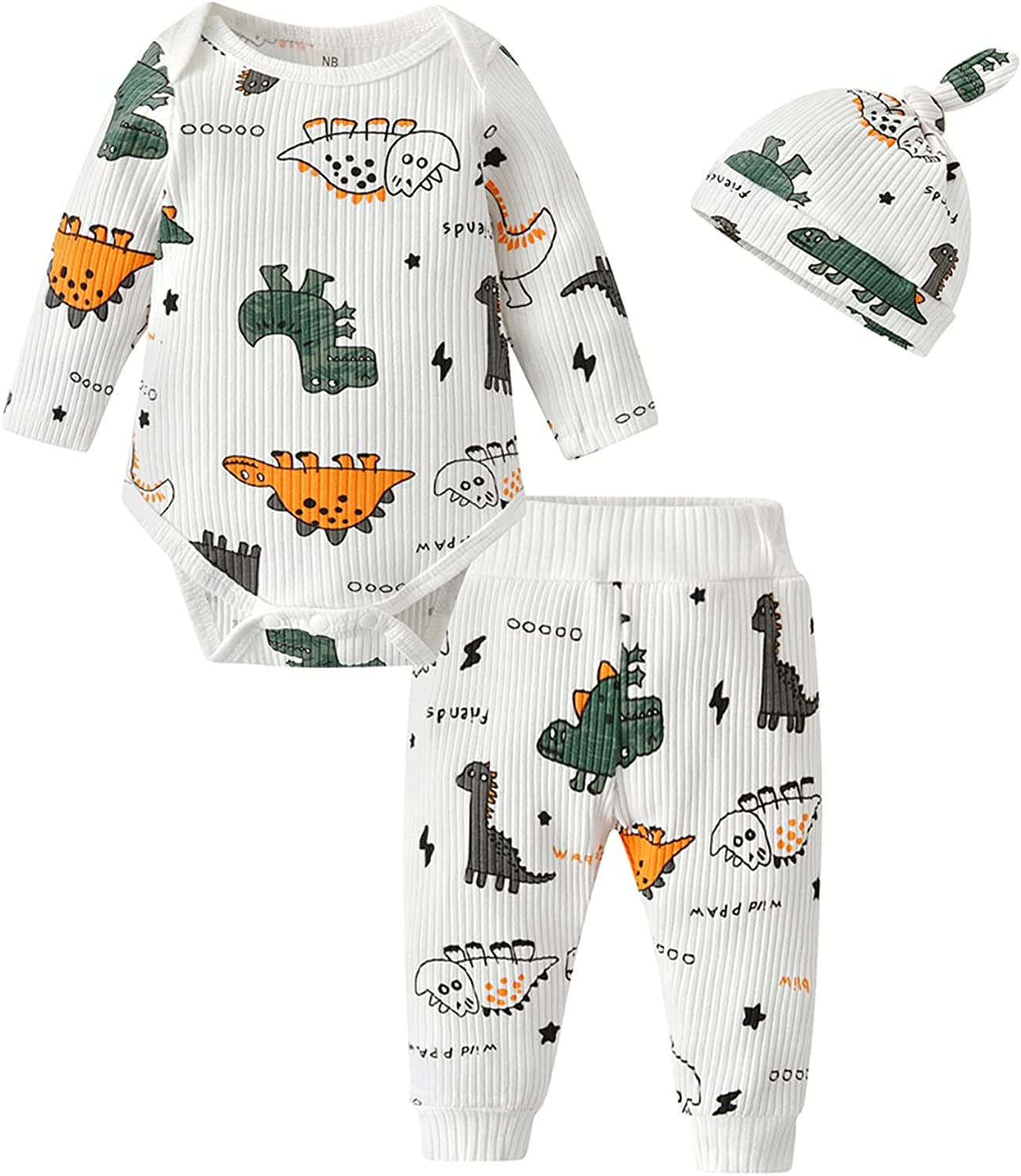 Newborn Infant Baby Boy Clothes Outfits Dinosaur Pattern Long Sleeve Romper + Pants + Hat Clothing 3 PCS