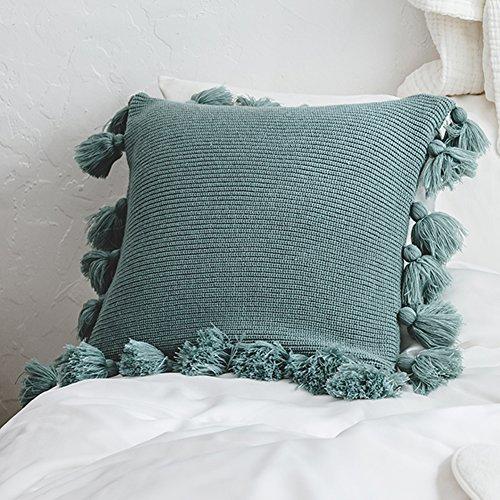 Borla Funda de cojín Pompones Funda de Almohada Hecha a Mano sofá Cuadrado Cuadrado Funda de Almohada con Cremallera Suave de algodón extraíble para sofá sofá Oficina salón decoración del hogar