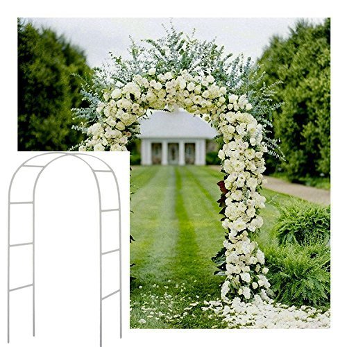 Adorox 7.5Ft 1 Set White Metal Arch Wedding Garden Climbing Plants Bridal Party Decoration Arbor
