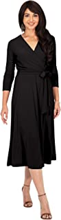 Womens V-Neck 3/4 Sleeve Semi Formal Wrap Flowy Knee Length Midi Dress