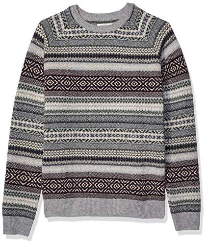 Amazon Brand - Goodthreads Men's Lambswool Stripe Crewneck Sweater, Stripe Fair Isle Large