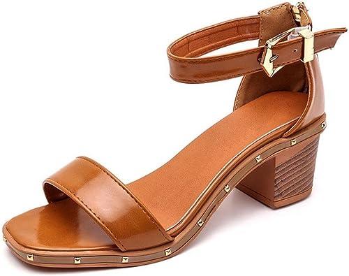 À talons hauts sandales tête de poisson poisson perle été boucle mot sandales femmes, épais avec des chaussures sauvages , dark marron , US7.5   EU38   UK5.5   CN38  économiser jusqu'à 50%