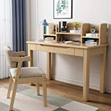 Solid Wood Desk with Chair, Desk and Bookshelf Combination Computer Desk Modern Simplicity Easy for Students, Home Writing...