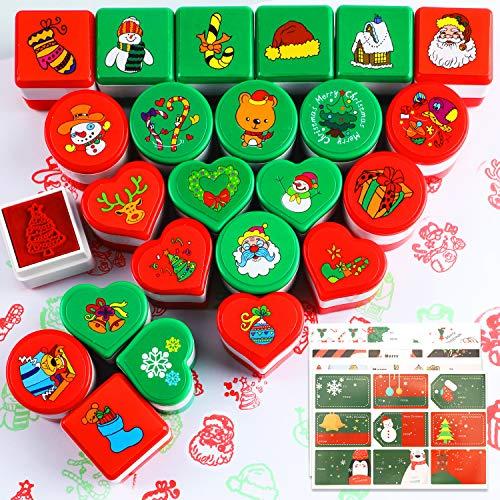 HOWAF Navidad Entintado Sellos Niños (24pcs) con Navidad Etiqueta Pegatina (72pcs) para Niños Navidad Impresión Scrapbooking Etiquetas Regalo Tarjetas Navideña Decoración Artículos