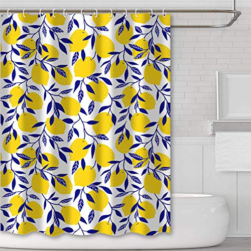 Yellow Lemon Bathroom Shower Curtain