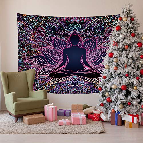 Tapestry Wall Hanging Buddha With Flower