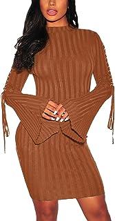 فستان سترة ضيقة مضلعة للنساء مثير بدون أكتاف بأكمام طويلة ومتماسكة قابلة للتمدد من الصوف مقاس نحيف